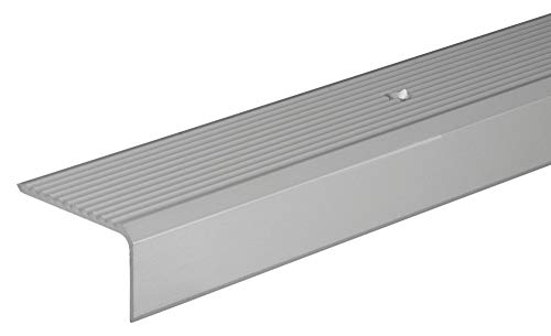 Gedotec Treppen-Profil Alu Stufen-Kantenprofil Aluminium Winkelprofil silber | 2000 mm | Bodenprofil gelocht zum Schrauben | Winkel-Schutzprofil 41 x 23 mm | 1 Stück - Treppen-Winkelprofil mit Rillen