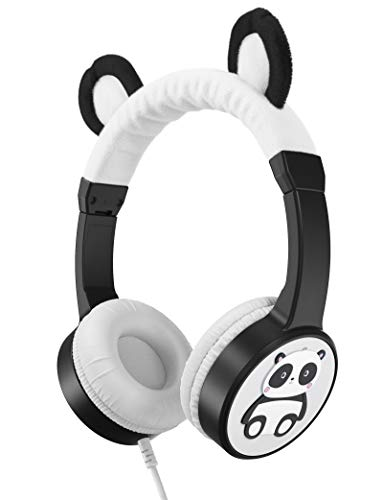 Planet Buddies Kids Headphones, Volume Safe Foldable Wired Earphones with Music Sharing, On Ear Headphones for Kids, Ideal for Travel and School, Works with Computer, Phone, Tablet and Kindle - Panda