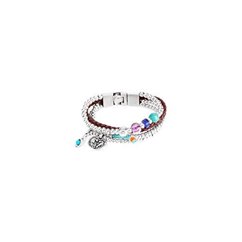 Uno de 50 Damen-Armband Versilbert Leder Perle Mehrfarbig 18 cm - PUL0842MTLMCL0M