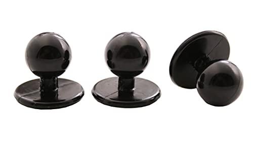 Hartmann-Knöpfe 12 bottoni in plastica per giacca da cuoco, bottoni a sfera, neri