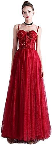 Vestido de Noche de Banquete Vestido para Ocasiones Especiales Fiesta de Lentejuelas Vestidos Formales-Red_14, LIFU