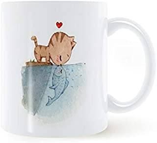 Autumn Cup - Dear Kiss Cat And Fish Mug 11oz Coffee Cup Mug Tea Cup Ceramic Gifts For Family And Friends