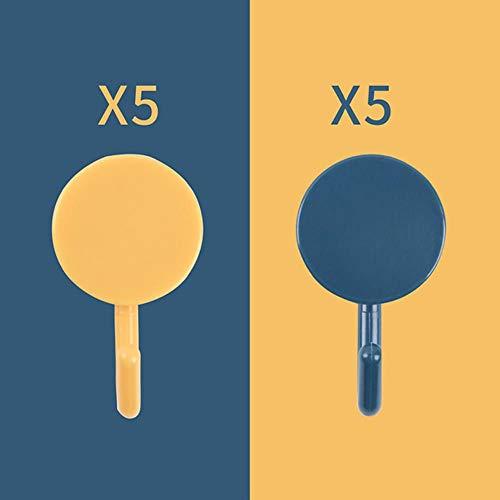 KWHY 10 stks/set Decoratieve Haak Zelfklevende Deur Muurhaken Sleutelhouder Kleerhanger Kapstok Voor Badkamer Keuken Wanddecoratie, Geel Donkerblauw