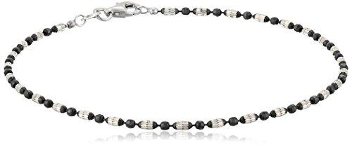 Italian Sterling Silver and Black Ruthenium-Plated Diamond-Cut Mezzaluna Ankle Bracelet, 10'