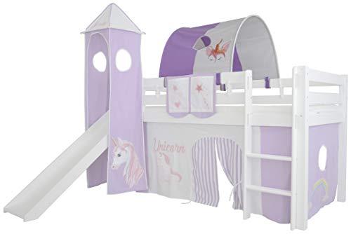 Mobi Furniture Tunnel Einhorn für Hochbett Höhle Etagenbett Spielbett Kinderbett Bettdach