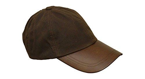 Walker and Hawkes Unisex Baseball-Kappe aus gewachster Baumwolle - Schirm aus Leder - Einheitsgröße Braun