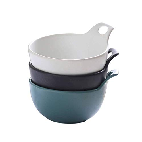 JLWM Suppenschüsseln 3 Stück, 350ML Suppenschüssel Mit Henkel Aus Porzellan Keramik Küche Ofen Mikrowelle Für Zwiebel Vorspeise Würze Dip Gericht-Weiß+Blau+Schwarz