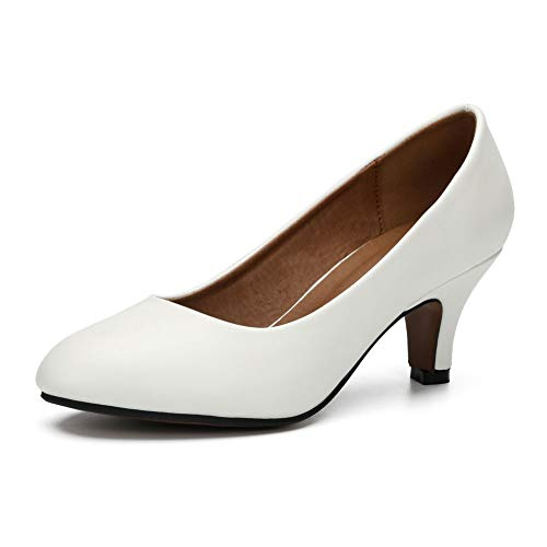 Damen Klassische Runde Zehen Pumps Kitten Low Heel Schuhe, Weiá (mattweiß), 41 EU