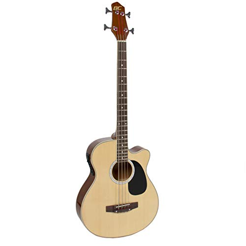 Best Choice Products Acoustic Electric Bass Guitar - Full Size, 4 String, Fretted Bass Guitar - Natural Wood Finish