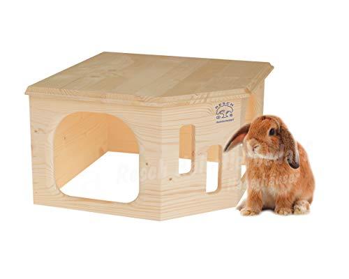 Resch Nr33 Kaninchenecke Groß naturbelassenes Massivholz aus Fichte/mit Zwei großen Eingängen und großer Dachliegefläche