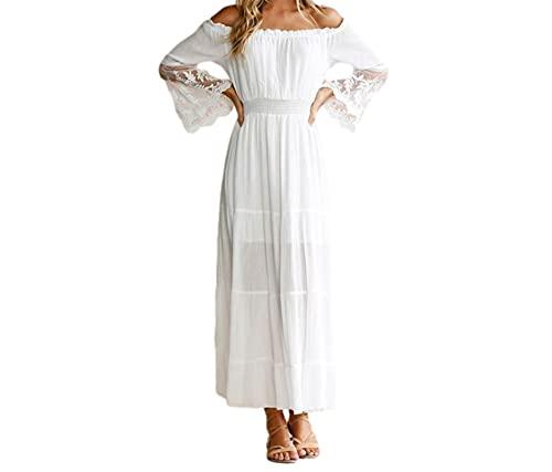 Women's Dress Design Sense High-Waist Skirt Lace Stitching Long-Sleeved One-Neck Super Long Elegant Dress White Spring and Summer (Plus Size)