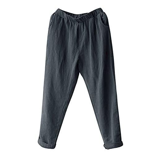 Pantalones Jogger,Pantalones Mom,Pantalones De Mujer,Pantalones Harem Pantalones Culotte,Pantalones De HaréN De Lino De Talla Grande Para Mujer Pantalones De Cintura Media Casuales Y Delgados