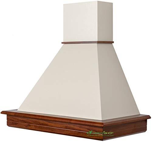 Campana de cocina rústica madera Stock 80 nogal clásico chimenea crema 390 mc/h