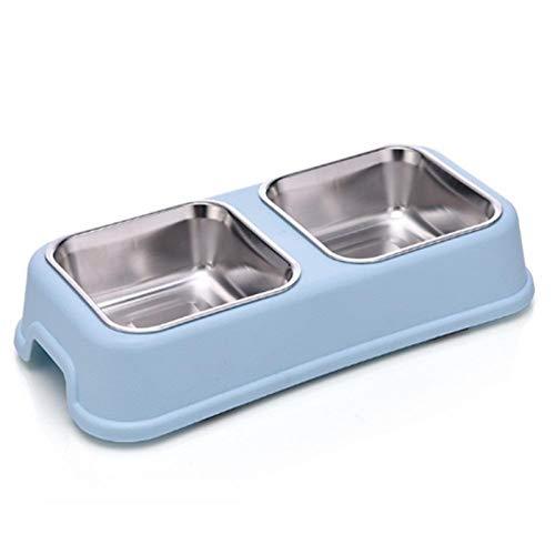 Tazón de mascota - Perro Doble cuenco Puppy Alimento Alimentador de Agua Linda Acero Inoxidable Mascotas Alimentador Alimentador Mascotas Mascotas Suministros Placas de alimentación ( Color : Blue )