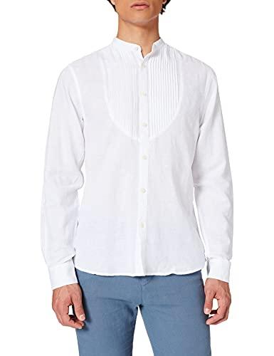 Springfield Camisa Manga Larga Lino ORGÁNICO Mao Chest Pintucks, Blanco, S para Hombre