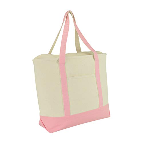 DALIX 22' Extra Large Cotton Canvas Zippered Shopping Tote Bag in Pink