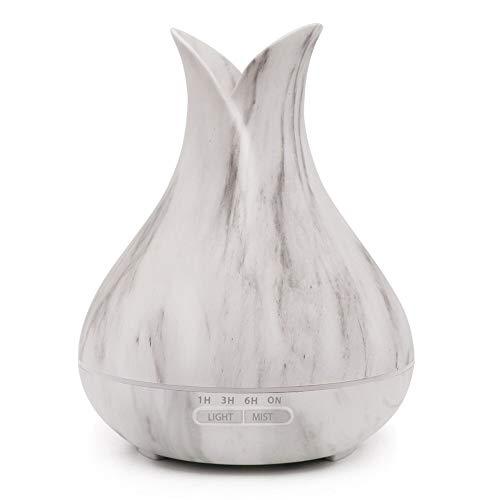 MMLsure® Luftbefeuchter Diffusor Aromatherapie mit LED Nachtlicht,Auto Aroma Öl Diffuser,400ml Vase Form Ultraschall Vernebler Marmor Gewöhnliche-Muster Raumbefeuchter -Sparen Sie trockene Haut (Grau)