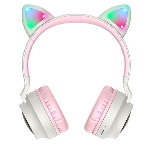 Rehomy Auriculares inalámbricos con orejas de gato - Auriculares plegables con micrófono LED para orejas de gato