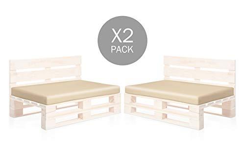 SUENOSZZZ-ESPECIALISTAS DEL DESCANSO Pack 2 colchonetas Asiento para Sofas de palets, cojin Chill out Relleno con Espuma y enfundado en Polipiel Color Beige
