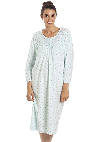 CAMILLE Classic Langarm Polka Dot Soft Fleece Nachthemden 40/42 Aqua