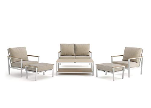 Echo Cushion - 6-Piece Loveseat, Stationary Lounge Chair and Ottoman Seating Set - Fog Frame - Beech Wood Armcaps - Sunbrella Cast Ash Fabric