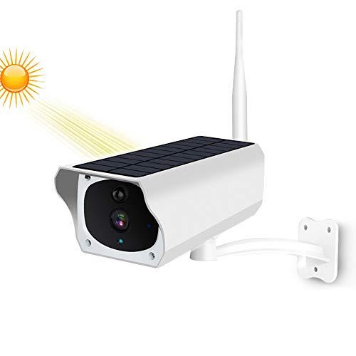 Draadloze bewakingscamera op zonne-energie, 1080P WiFi IP-camera, IP66 weerbestendige PIR-nachtzichtcamera met bewegingsmelder in de buitenlucht en 2-weg audio-SD-kaartsleuf, A