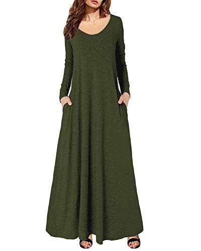 Kidsform Vestito Lungo Donna Vestiti Donna Eleganti Manica Lunga Casuale Retro Tinta Unita Scollo a V Vestito Lungo Maxi Vestiti da Sera E-Verde Militare S