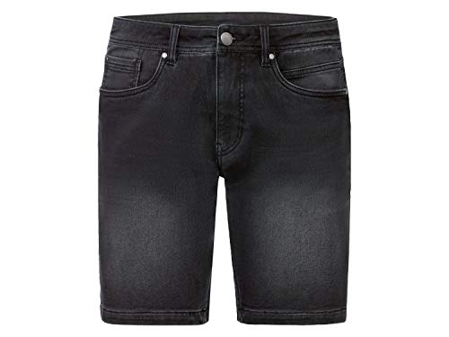 Livergy Herren Denim Shorts Kurze Sommer Hose Bermude 5-Pocket Jeans Schwarz 50