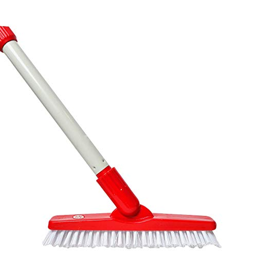 World's Best Heavy Duty Stiff Bristled Stand Up Floor Grout Brush is a Fuller Brush with Long Handle and Double Wall Metal Thickness, Excellent Shower and Bath Brush