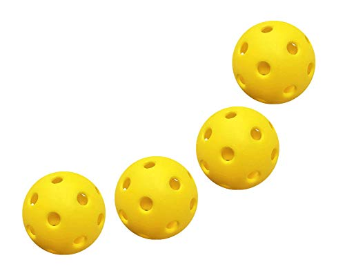 SYNORATORY Outdoor and Indoor Pickleball,40 Holes Pickleball Balls,26 Holes Pickle Ball,Durable and High Elasticity Yellow Pickleball Balls for Tournament Play (Yellow-4Packs Indoor Pickleball Balls)