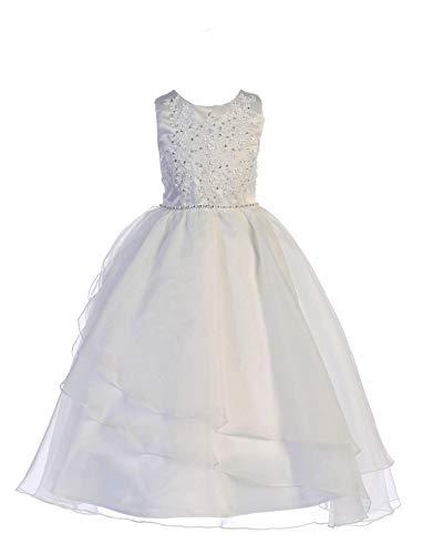 Lito Girls Communion Dress - First Holy Communion Dress - White Dress - Flower Girl Dress - Wedding Party Dress (Size 8)
