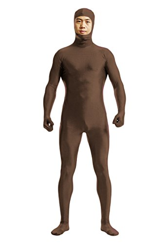 (YUUWA)全身タイツ 顔部分が開いている 着ぐるみ 伸縮抜群 コスチューム仮装 褐色 男性XL