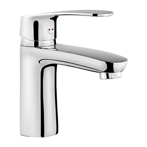 baliv WT-300 Waschtischarmatur verchromt | Wasserhahn mit Ablaufgarnitur und allem, was man für den Einbau braucht