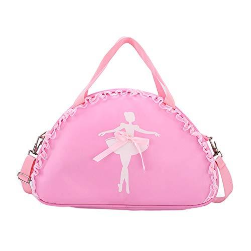 besbomig Bolsa de Ballet Danza Bolsa de Hombr de Nailon para Niña Bailarina Personalizada Bolsa de Deporte Gimnasio Viaje Escuela Bag con Encaje Bowknot, Rosa