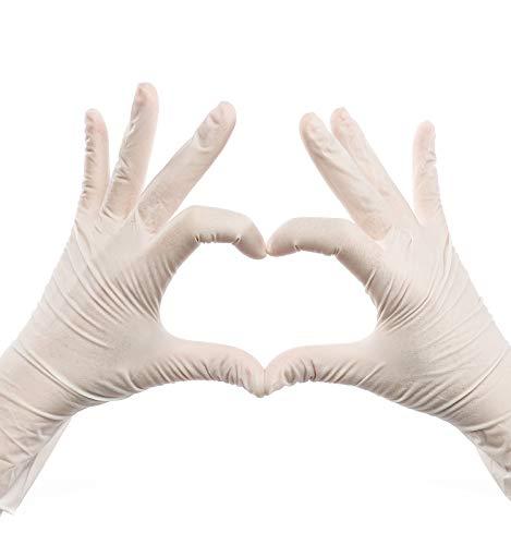 200 pz nitrile guanti monouso polvere senza lattice, dispenser pack cucina universale / lavastoviglie / lavoro / gomma / guanti da giardino (L, bianco)