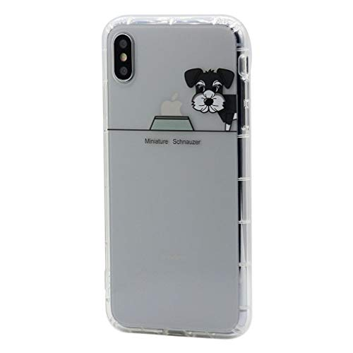 Keyihan iPhone 8 / iPhone 7 Funda Carcasa Cómic Divertido Perro Lindo patrón Transparente Suave TPU Silicona Shockproof Parachoques Bumper Case para Apple iPhone 7 8 (Schnauzer Miniatura)
