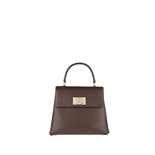 FURLA 1927 S Top Handle Original Leather Handbag Small Brown Retro 25 x 20 x 10 cm