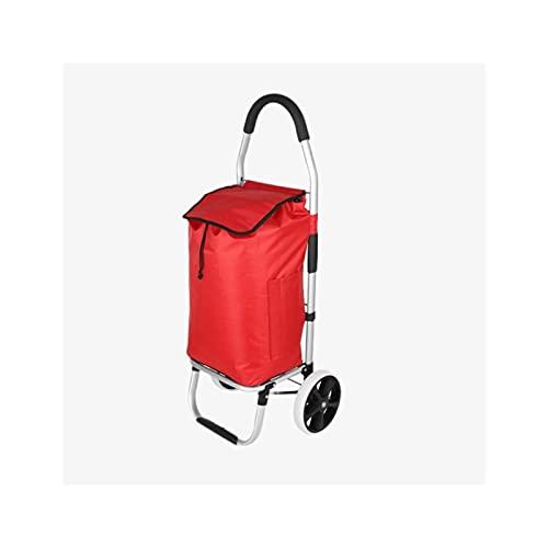 Carro de compras portátil Carrito de compras portátil rojo Pequeña utilidad de escalada de escalada Remolque de aluminio para compras Oficina de herramientas de equipaje Carrito de compras plegable