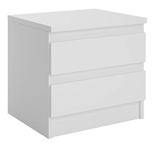 CARO-Möbel Nachttisch Aster Nachtschrank Nachtkommode mit 2 grifflosen Schubladen in weiß