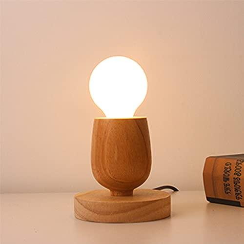 Mengjay Holz -Würfel Tischleuchte, Holz Tischlampe mit E27 Fassung, bis max.60W, Dekoleuchte für Edison retro industrial Glühbirnen,ohne Leuchtmittel für Wohnzimmer, Schlafzimmer und Büro.