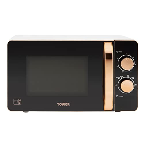 Tower T24020W Manual Microwave with 30-Minute Timer and 6 Power Levels, 20L, 800W White and Rose Gold
