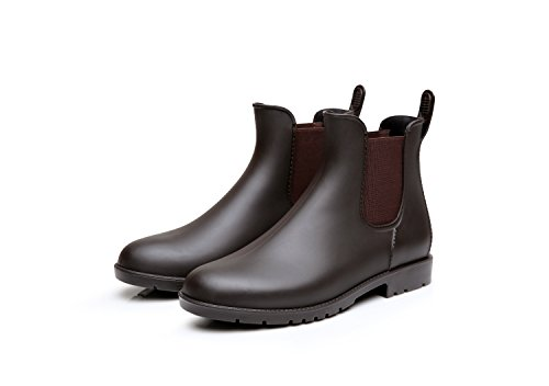 Mini Balabala Damen Chelsea Rain Boot Gummistiefel Kurzschaft Ankle Stiefeletten Gummistiefeletten Regenstiefel, Braun/Brown, 42 EU
