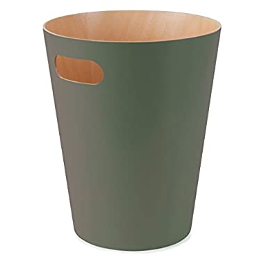 Umbra Woodrow Trash Can – Duo-Tone Wood Wastebasket Garbage Can for Office, Study, Bathroom, Living Room, Powder Room and More, 2 Gallon/7.5 L, Spruce