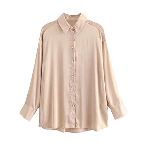 Dasongff Blusa elegante de manga larga para mujer, monocolor, cuello en V, suelta, camiseta de manga larga