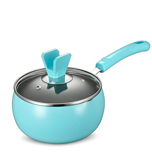 ASDFGH 16CM Stockpot Baby-Suppe Milchtopf Kochtopf Non-Stick Multifunktions-Pan Gasherd Küche Kochgeschirr (Color : Blue)