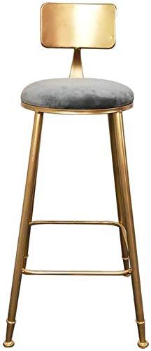 YLCJ kinderstoel stoel, receptie balie bar stoel studie terras terrasstoel anti-slip metalen stof creatieve fauteuil hoogte 75 cm (kleur: grijs) Grijs