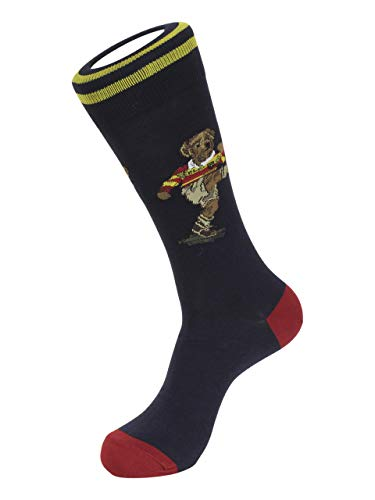 Polo Ralph Lauren Men's Rugby Kicker Bear Solid Casual Dress Sock, Navy