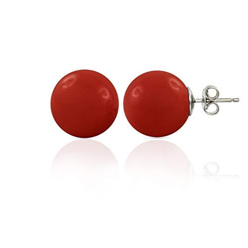 inSCINTILLE Pendientes de tuerca de plata rodiada con bola de color rojo