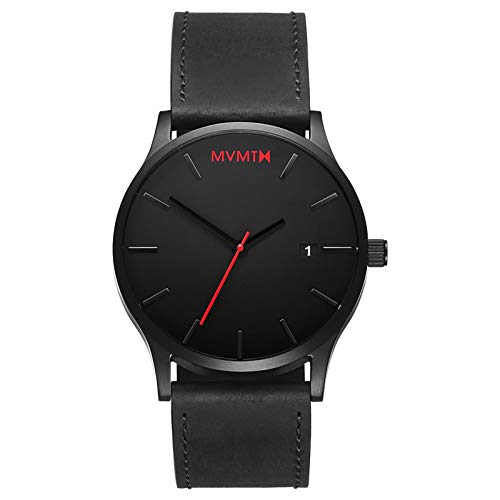 MVMT Classic Mens Watch, 45MM | Leather Band, Minimalist Watch, Analog with Date | Black