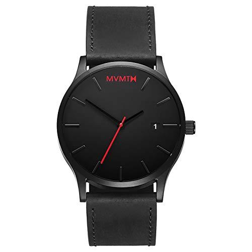 MVMT Men's Minimalist Vintage Watch with Analog Date | Black Leather